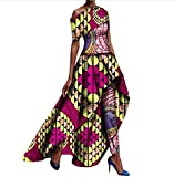 Winwinus Women's 2pcs Set Africa Pants Fit Dashiki Printing Party Long Dress 1 4XL