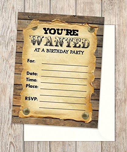 Wanted Poster Fill In Blank Invitations Flat Cards Set Of 20 Rustic Western Birthday Party With Envelopes Invites