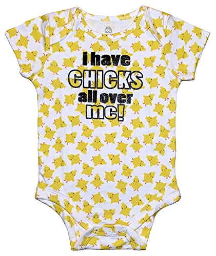 Assorted Bunny, Egg, Chick Boys' & Girls' Easter Bodysuit Dress Up Outfit (0-3 Months, I Have Chicks All Over Me!)]()