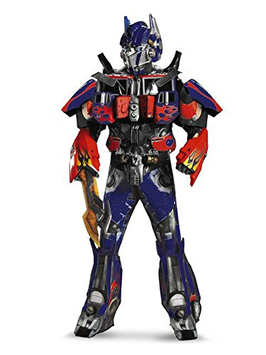 (Disguise Men's Hasbro Transformers Age Of Extinction Movie Optimus Prime Theatrical with Vacuform Plus 3D Costume, Blue/Red,)