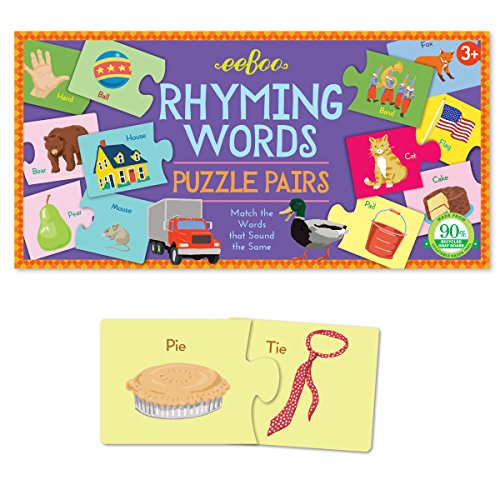 eeBoo Rhyming Words Puzzle Pairs Matching Game (Match Rhyming Words)