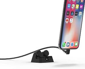 ElevationLab Cord Dock V2 - Hybrid iPhone Lightning Charging Dock & Cable, Desk Phone Stand Holder, Desktop Docking Station Cradle, Charging Stand, MFi Certified