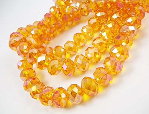 ondelle Faceted Beads Light Orange AB 55 beads for jewerly making findings handmade jewerly briolette loose beads spacer donut faceted Top Quality 5040 (AB C46) ()