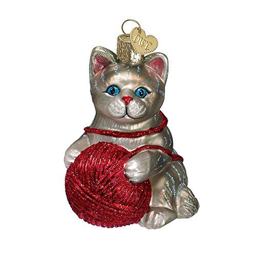 Old World Christmas Playful Kitten Glass Blown Ornament, Grey