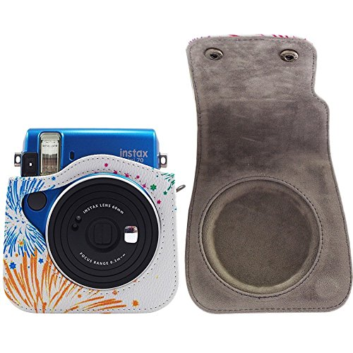 Mini 70 case katia pu leather camera case with shoulder for Housse instax mini 70