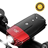 TOS USB Rechargeable Bicycle Head Light Set, 2000mAh Super Bright Bike Front Light, IP65 Safety Commuter Flash Light for Bike, Mountain(T6) - Red
