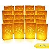 Go Luminary Bags | Special 20 Pcs Luminary Bags with Duo Heart | Durable and Reusable Fire-Retardant Cotton Material | Superb for Wedding, Valentine, Engagement, or Marriage Proposal | White | 326.4