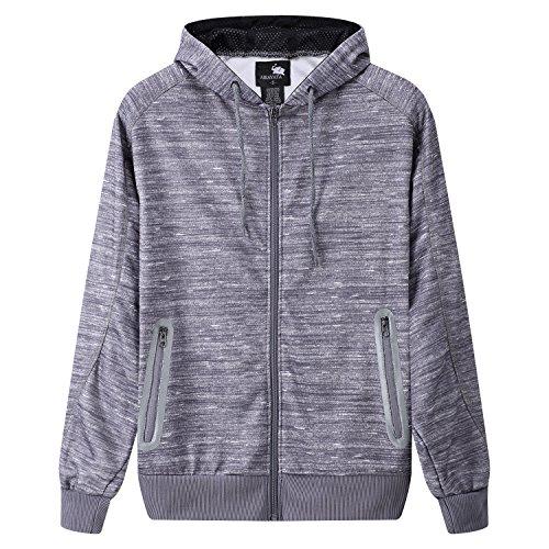 FZDX Men's Long Sleeve Sweatshirt Zipper Pockets Slim Fit Full-zip Hoodie Jacket