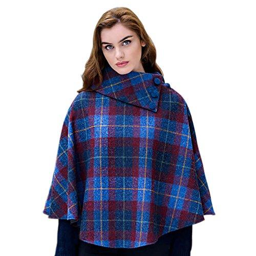 Mucros Weavers Ladies Irish Wool Tweed Poncho, Red & Blue Plaid, One Size fits All - Irish Tweed Jackets