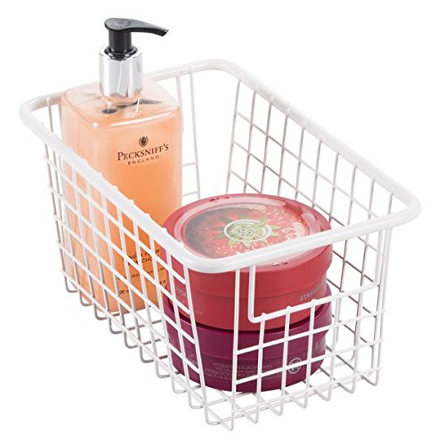 mDesign Bathroom Wire Storage Basket with Handles for Health and Beauty Products, Lotion, Shampoo, Conditioner - Medium, Matte White MetroDecor