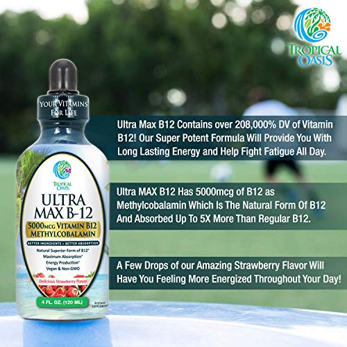 ULTRA MAX B12   Max Potency 5000mcg Vitamin B12 Sublingual Liquid Drops   Methyl B12 (Methylcobalamin)   Max 98% Absorption Rate   Increase Energy & Metabolism*  Vegan, Non-GMO, Strawberry flavor -4oz