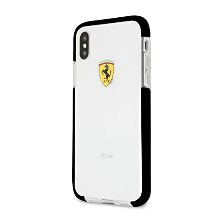best service 5a511 f5c09 Ferrari Logo Print Hard Leather Back Cover Case for Apple iPhone X/Apple  iPhone Xs Glossy Transparent Shockproof White Side Racing Cover