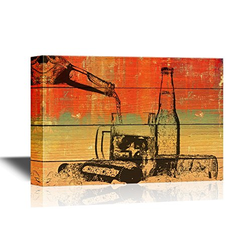 Beer Bottles and Glass on Vintage Wood Style Background