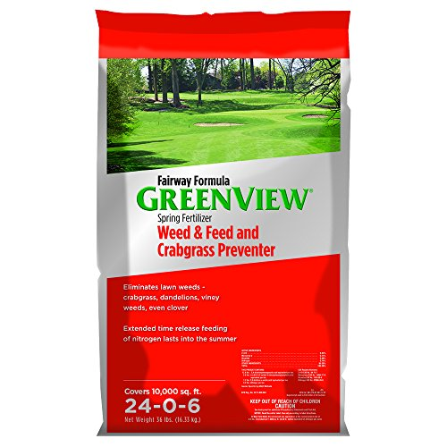 GreenView Fairway Formula Spring Fertilizer Weed & Feed Plus Crabgrass Preventer, 36 lb bag, Covers 10,000 Sq. Ft.