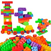 TENDERFEET 100 Pieces Building Blocks for Kids with Wheel, Handy Packing, Best Gift Toy, Multicolor for 2 3 4 5 Years Girls Boys Toddlers Children