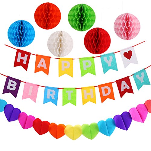 Happy Birthday Party Decoration Set with Colorful Birthday Banner, 6 Pieces Honeycomb Balls and Colorful Heart-shaped Bunting by - Hearts Rainbow Colored