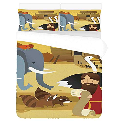 Religious Comfortable 3 Piece Bedding Set,Animals in The Ark Illustration with Mythical Elephant Ancient Cute Cartoon Print for Home,Duvet Cover:86