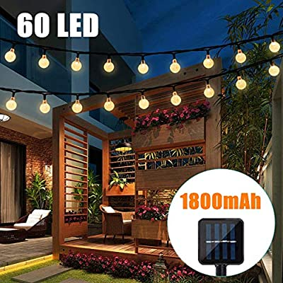 Binteng Solar String Lights Outdoor 36ft 60led Crystal Ball Outdoor Starry Lights Solar Powered String Lights Waterproof for Garden Home Landscape Holiday Decorations