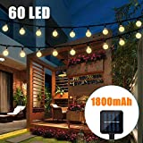 Bteng Solar String Lights Outdoor 36ft 60led Crystal Ball Solar Lights Solar Powered Fairy Lighting Waterproof for Garden Home Landscape Holiday Decora