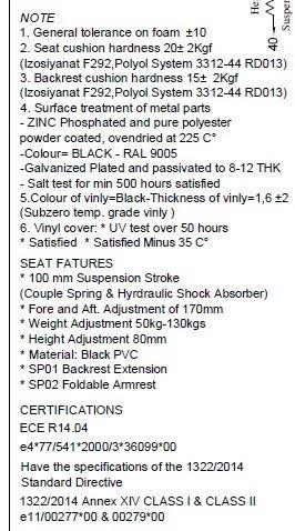 Schleppersitz Traktorsitz Staplersitz Baggersitz CS 85H//90AR Fahrersitz passend Linde Clark Deutz PVC