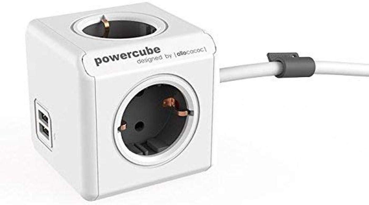 Allocacoc Power Cube 4+ 2usb 1, 5m de cable, 1pieza, color blanco, 47529