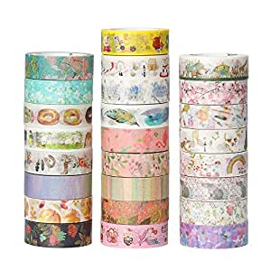Molshine Set of 25 Decorative Japanese Washi Masking Adhesive Tape – Gallery Series - Collection, (15mm x 7m, 0.59inch x 7.6 Yards) for DIY (WCL05)