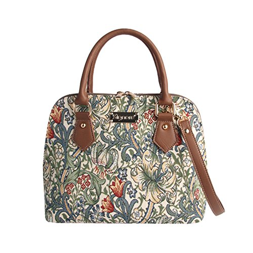 Signare Women's Fashion Canvas Tapestry Top Handle Handbag with Detachable Strap to Convert to Shoulder Bag by Designer William Morris Golden Lily (Conv-GLILY)