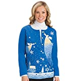 Collections Etc Women's Christmas Button Down Cardigan with Angel and Snowflakes, Blue, Medium