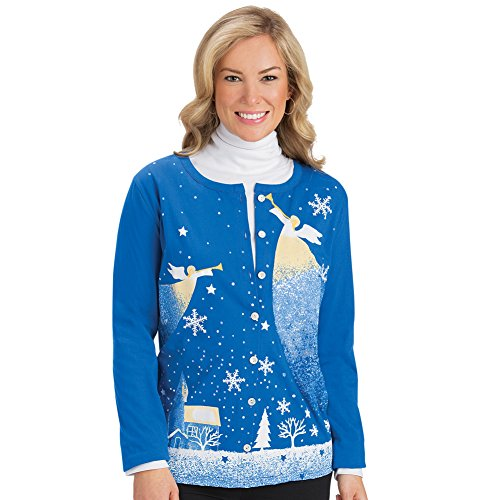 Cardigan Angels - Women's Christmas Button Down Cardigan with Angel and Snowflakes, Blue, Large