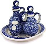 Polish Pottery 9-inch Seasoning Set (Daisy Dreams Theme) + Certificate of Authenticity