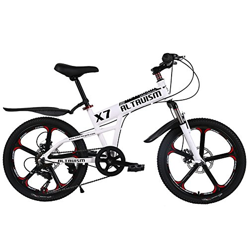ALTRUISM X7 Kids' Mountain Bicycles 7 Speed Fashion Aluminum Bicycle For Boys Girls 20 Inch Bicycles CE ROHS Mountain Bikes (White, Aluminum 7speed 20inch)