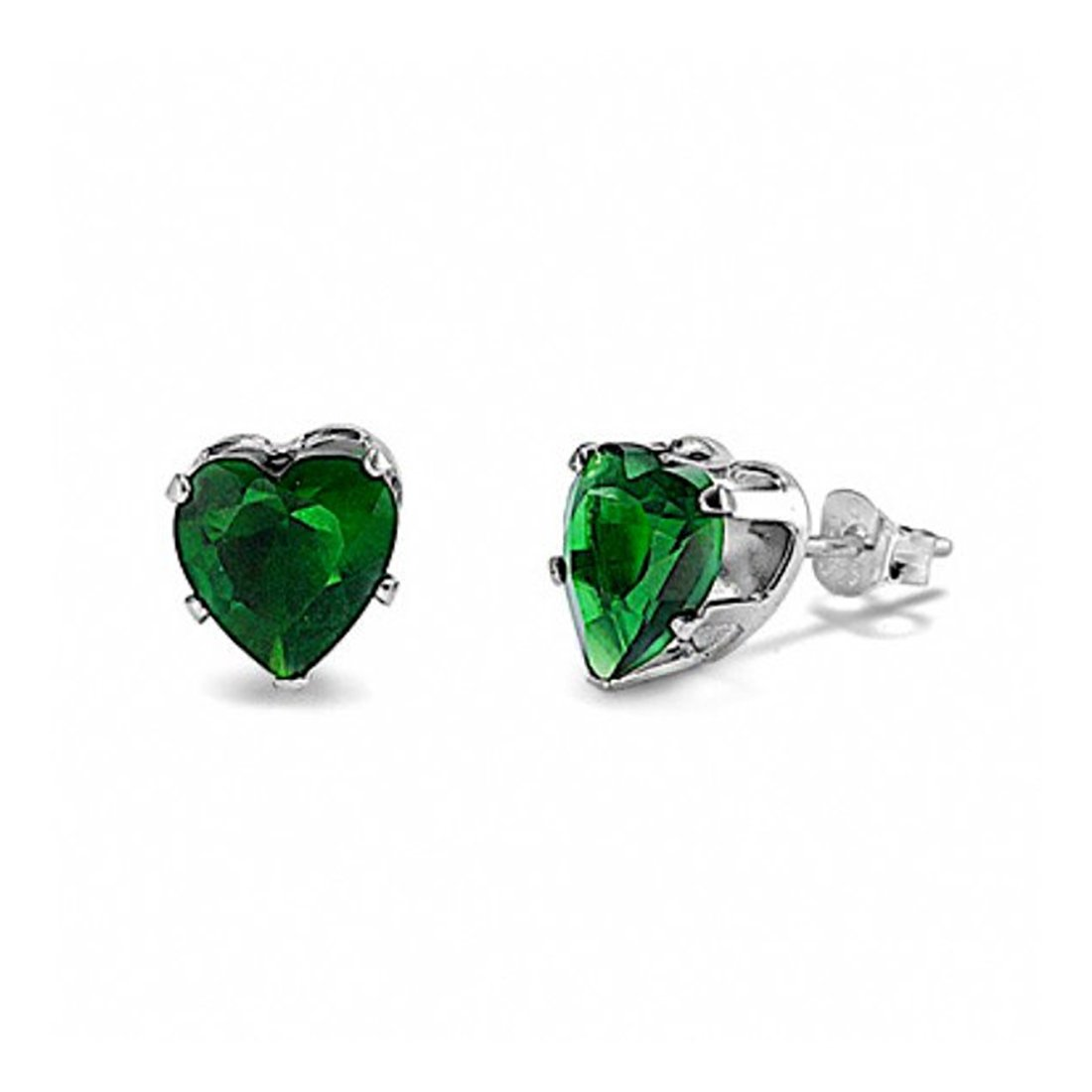 Solitaire Heart Stud Earrings Simulated Green Emerald 925 Sterling Silver