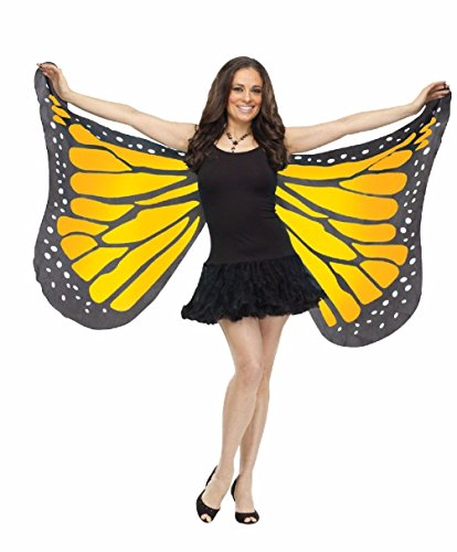 Jumbo Butterfly Wings Costume (Butterfly Wings Soft Fabric Adult Costume Accessory One Size Orange-Yellow)
