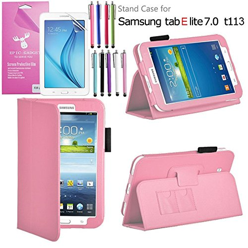 Galaxy Tab E Lite 7.0 Case, EpicGadget(TM) Galaxy E Lite Premium PU Leather Folding Folio Cover Case with Built in Stand For Tab E Lite 7 inch T113 + Screen Protector + 1 Pen(Light Pink Leather Cover)