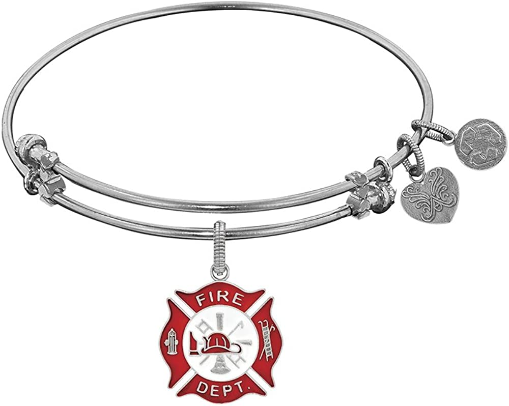 7.25 Inches Hope /& Charity Adjustable Bangle Bracelet Angelica White Rhodium Over Brass Faith
