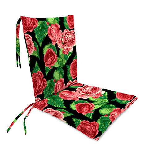 Classic Polyester Outdoor Rocking Chair Cushion with Ties, Seat Cushion 21''W Front/17''W Back x 19''D; Back Cushion 16''W x 20''L - Cabbage Rose