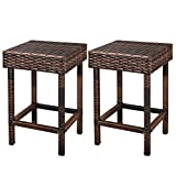 LEMY Brown Wicker Dinning Chair Iron Framed Backless Bar Stools Outdoor All-Weather Patio Furniture Set (Set of 2)