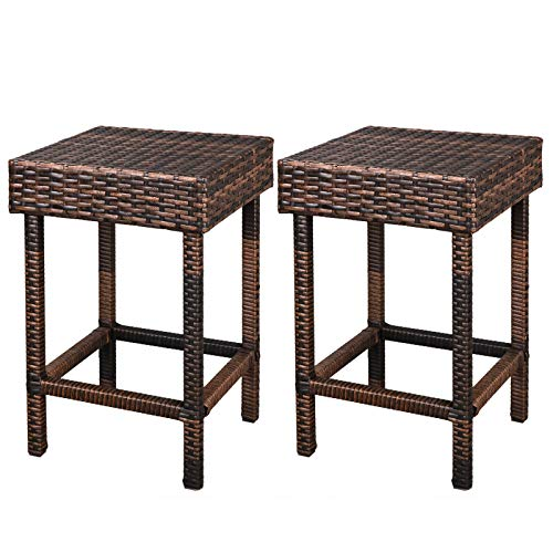 LEMY Brown Wicker Dinning Chair Iron Framed Backless Bar Stools Outdoor All-Weather Patio Furniture Set (Set of 2) by LEMY