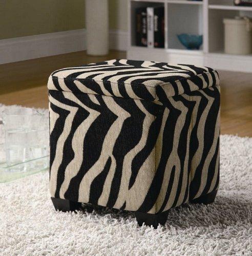 Wildon Home Oak Valley Faux Leather Cube Ottoman Color: Khaki Zebra (Print Footstool Zebra)