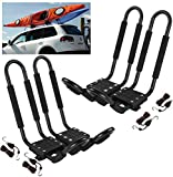 Car Rack & Carriers Universal 2 Pairs J- Shape Kayak Rack HD Kayak Carrier, Cary Canoe Boat. Surf Ski Roof Top Mounted on Car SUV Crossbar