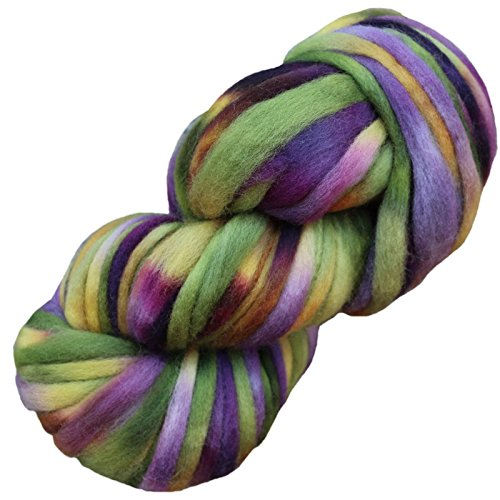 Living Dreams SUPER ZIPPY Hand Dyed Extra Bulky Wool Roving Yarn for Knitting Crochet Weaving & Boho Wall Art. Made in USA. Iris ()