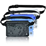 Aquamare Waterproof Pouch Dry Bag with Waist Strap (3 Pack - Black, Blue, Transparent)