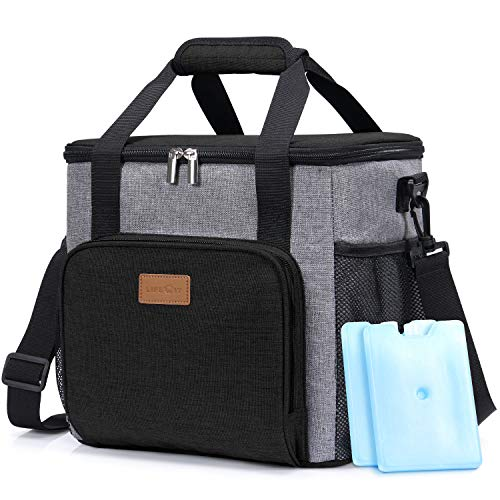 Lifewit Insulated Large Lunch Box Lunch Cooler Bag for Men Adults, 17L (24-Can) Soft Cooler for Sports/Work, Big Lunch Bag Keep Food Cold Hot Fresh, Black [ with 2 Ice Packs & Bottle Opener ] ()
