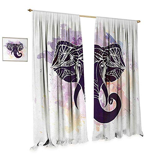 Anniutwo Sacred Waterproof Window Curtain Watercolor Portrait of Elephant Head Featured Asian Tribal Myth Character Blackout Draperies for Bedroom W72 x L96 Dark Purple Violet -