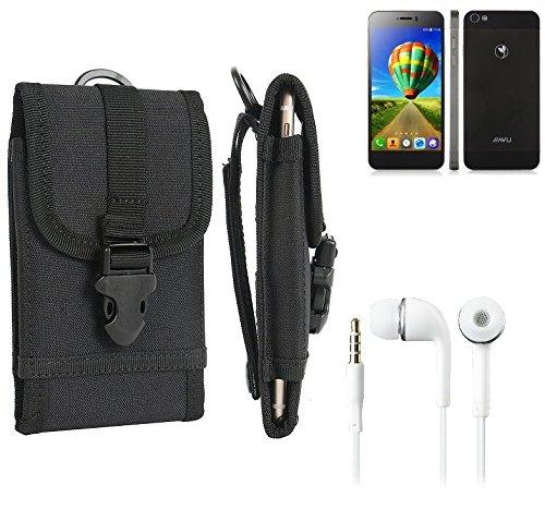 bolsa del cinturón / funda para Jiayu G5S, negro + Auriculares | caja del teléfono cubierta protectora bolso - K-S-Trade (TM)