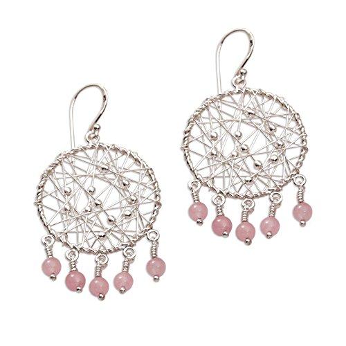 - NOVICA Rose Quartz .925 Sterling Silver Chandelier Earrings 'Hopeful Dreams'
