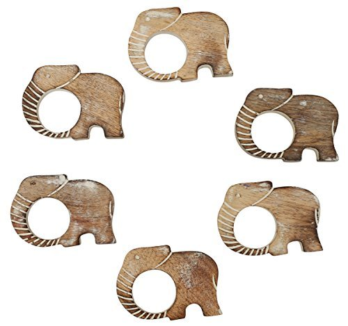 PRIME SALES TODAY – Handmade Wooden Napkin Rings Set of 6 with a Carved Elephant Motif in Distressed Burnished Finish Dining / Table Top Accessories -…