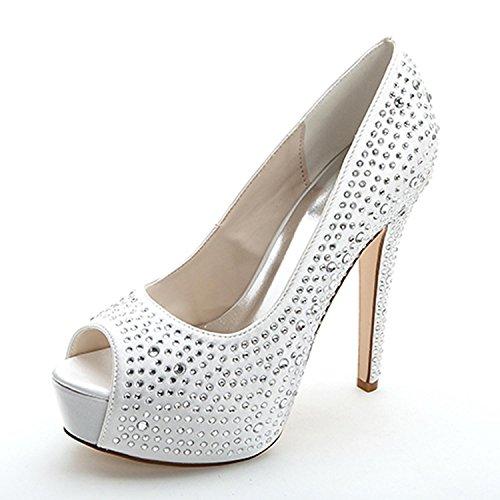 L@YC Tacones altos De Las Mujeres Primavera Verano OtoñO Invierno Platform Club Zapatos 3128-14 Y Zapatos De Boda White