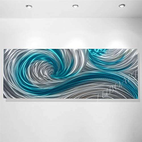 art painting modern teal ocean wave long outdoor indoor wall decor new home office artwork grind fine light Metal hand made by Lubo Naydenov