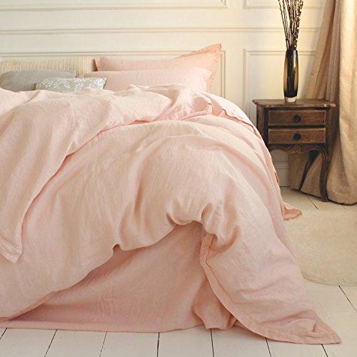 Merryfeel 100% Linen Duvet Cover Set - Full/Queen - Light Pink by Merryfeel (Image #2)